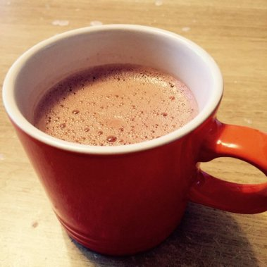 Hot chocolate with almond milk and organic cacao powder.